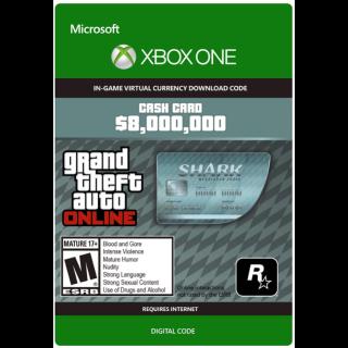 GTA 5 (GTA Online): Megalodon Shark Cash Card 8,000,000$ XBOX ONE KEY GLOBAL