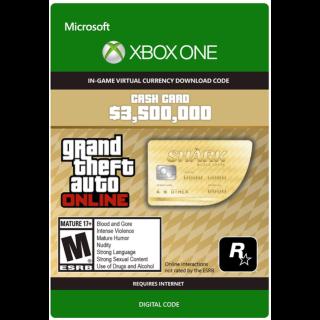 GTA 5 (GTA Online): The Whale Shark Cash Card - 3,500,000$ XBOX ONE CD-KEY GLOBAL