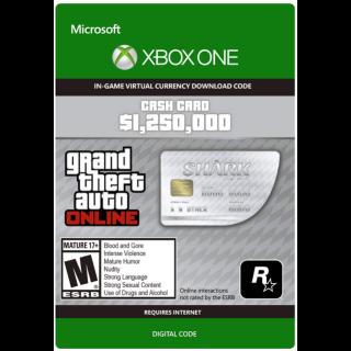 GTA 5 (GTA Online): Great White Shark Cash Card 1,250,000$ XBOX ONE KEY GLOBAL