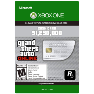 GTA 5 (GTA Online): Great White Shark Cash Card 1,250,000$ XBOX ONE KEY GLOBAL