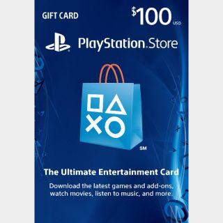 PSN $100 Digital Code (Instant Release) US Region
