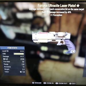 Weapon | 3star Furious ultracite laser pistol