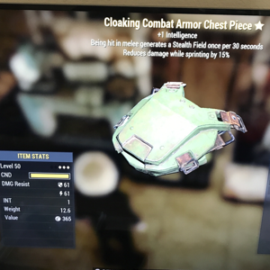 Apparel | 3 star cloaking combat armor chest piece