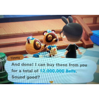 12 MILLION BELLS ANIMAL CROSSING NEW HORIZONS SAME DAY DELIVERY.