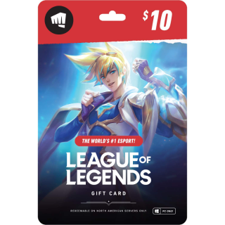 $10 League of Legends Gift Card (NA Servers)
