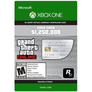 GRAND THEFT AUTO ONLINE (GTA 5) - 1,250,000$ GREAT WHITE SHARK CASH CARD XBOX ONE GLOBAL