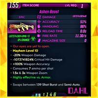 Weapon | ❗MOD❗ Ashen Beast ☣LvL 1