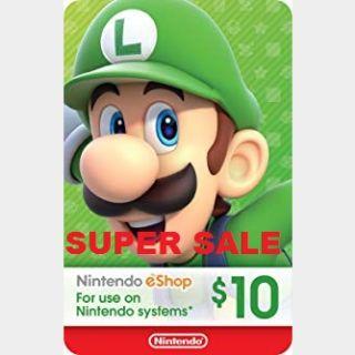 Nintendo eShop Card $10 USD Nintendo USA