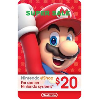 Nintendo eShop Card $20 USD Nintendo USA