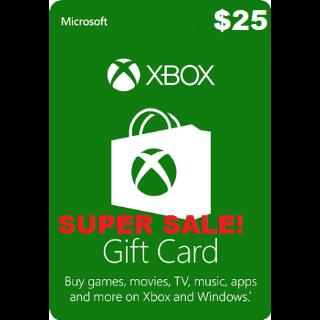 XBOX Live Gift Card/ Microsoft Gift Card UNITED STATES $25 USD XBOX LIVE Key