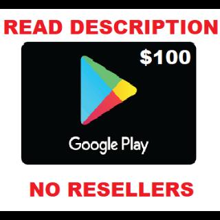 Google Play Gift Card $100 USD NORTH AMERICA *NEW DESCRIPTION*