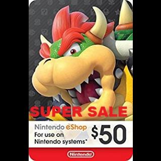 Nintendo eShop Card $50 USD Nintendo USA