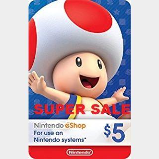 Nintendo eShop Card $5 USD Nintendo USA