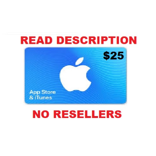 Apple iTunes Gift Card NORTH AMERICA 25 USD iTunes United States