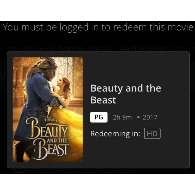 Beauty and the Beast HD MA + 150 DMR Code Only