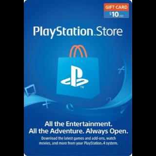 $10.00 PSN PlayStation Store Gift Card [Digital Code] (USA)