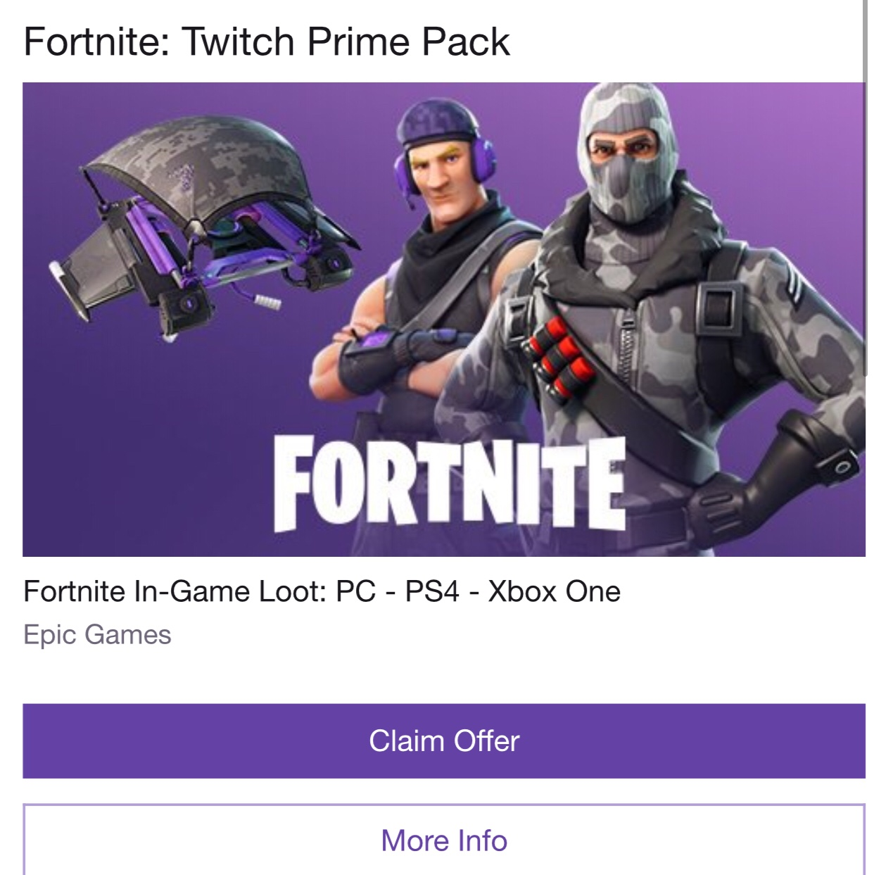 Fortnite Prime Pack PC Xbox One PS4 (Instant Delivery