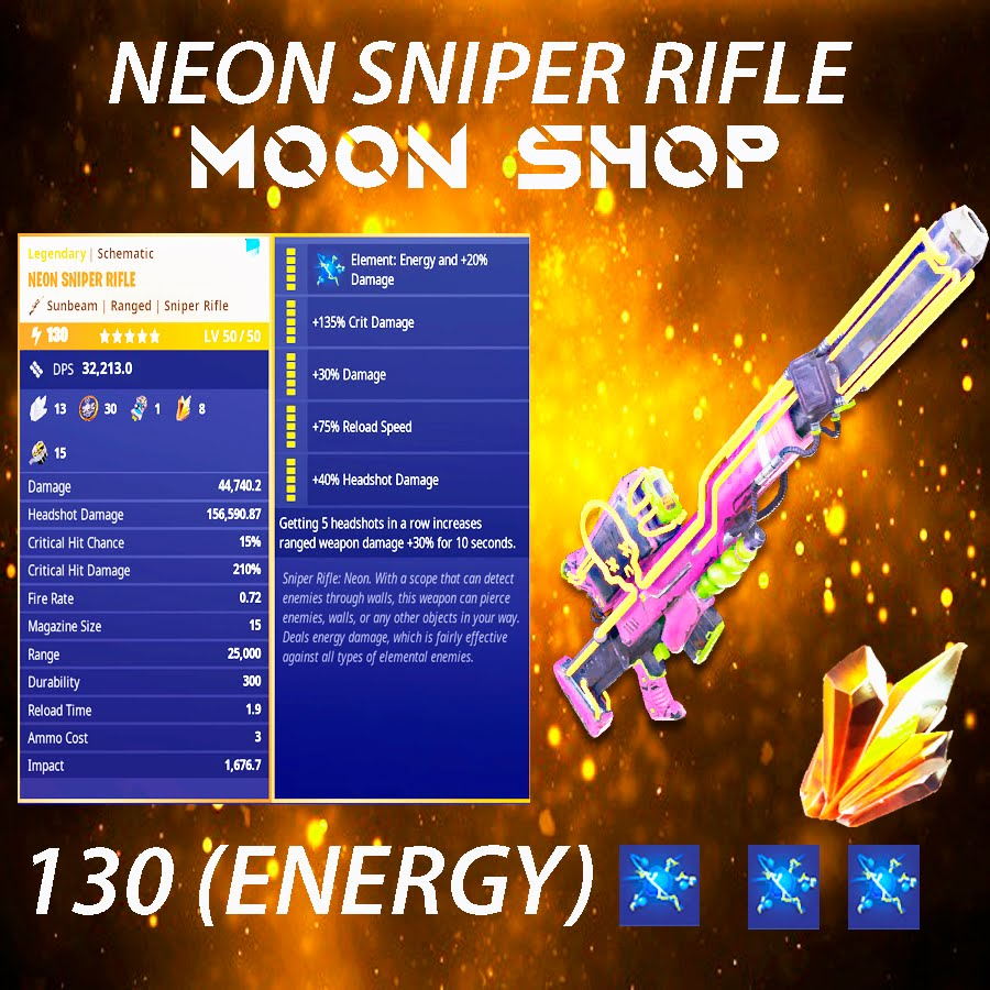 Neon Sniper Rifle   x10  130 FULL PERK