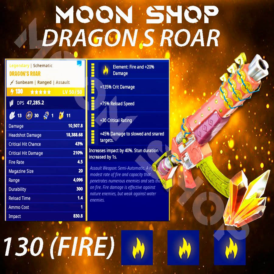Dragon's Roar   x10 130 FULL PERK 🔥