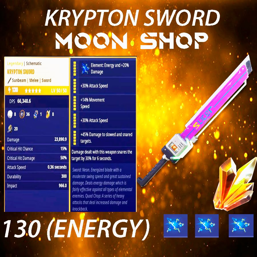 Krypton Sword   x10  130 FULL PERK