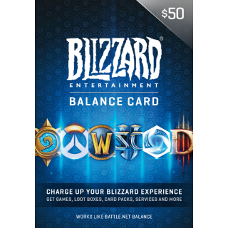 $50 Battle.net Store Gift Card for games like Hearthstone, WOW, Diablo and many more  (BLIZZARD)