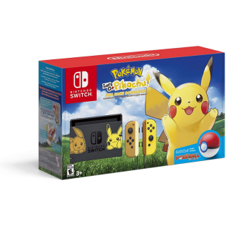 Nintendo Switch Console Bundle - Pikachu & Eevee Edition with Pokemon: Let's Go, Pikachu! + Poke Ball Plus