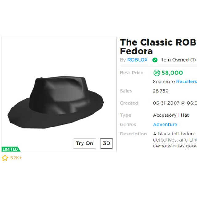 Collectibles Classic Roblox Fedora In Game Items Gameflip