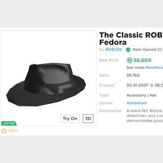 The First Hat Made By A User Roblox Collectibles Classic Roblox Fedora In Game Items Gameflip