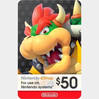 $50 Nintendo eShop Gift Card (USA)