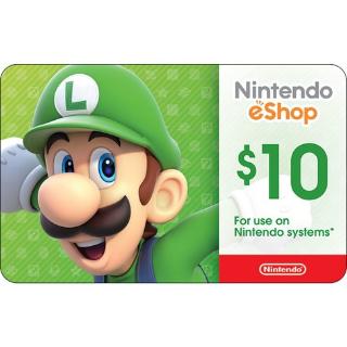 Nintendo eShop $10 Gift Card (USA)