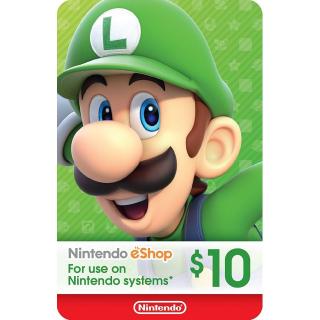 $10.00 Nintendo eShop [Instant Delivery] YY