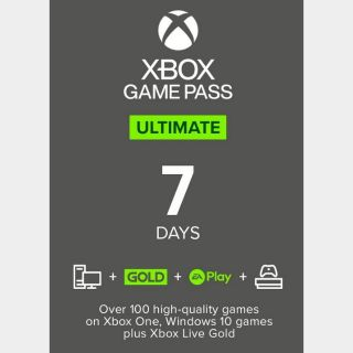 Xbox pass ultimate 7 days NOT TRIAL GLOBAL