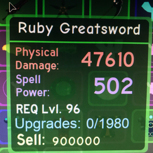 Other | Dungeon Quest- Ruby Greatsword