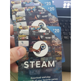 Three $20.00 Steam gift cards