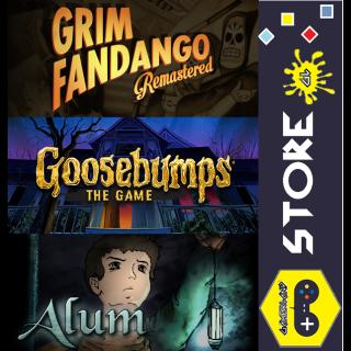 Indie Graphic Adventure Pack [Alum + Goosebumps: The Game +  Grim Fandango Remastered]