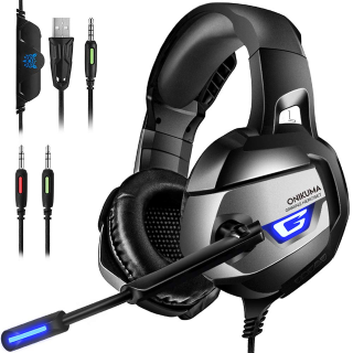 ONIKUMA Pro Stereo Gaming Headset for PS4, Xbox One, PC 【2019 Newest】 【60mm Driver】【7.1 Surround Sound】