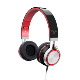 Elecder i39 Headphones with Microphone Kids Children Girls Boys Teens Adults Foldable Adjustable Wired On Ear Headsets - Red
