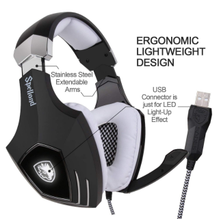 SADES A60/OMG USB Gaming Headset, Computer Over Ear Stereo Heaphones with Microphone Noise Isolating