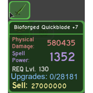 Gear | Bioforged Quickblade +7