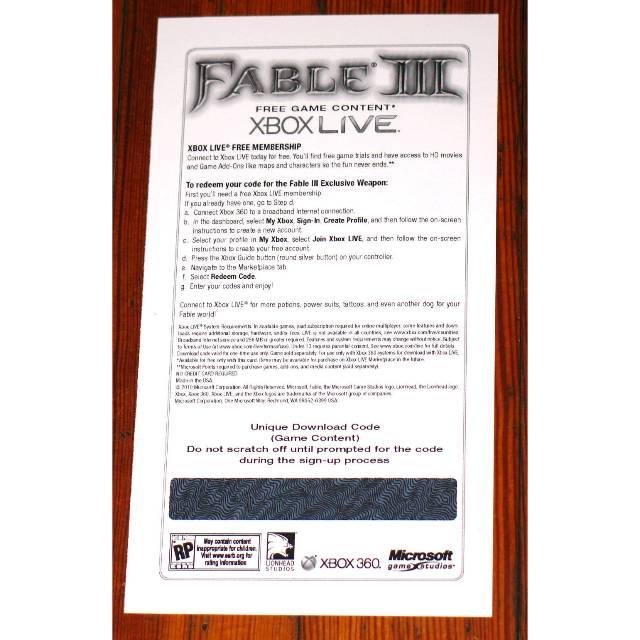 Fable III 3 Shardborne Sword DLC code Xbox 360 limited - XBox 360