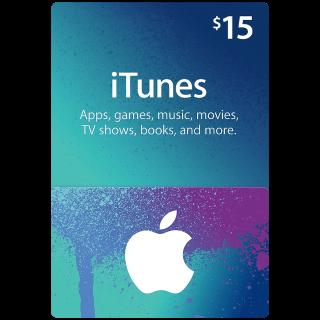 $15.00 iTunes USA