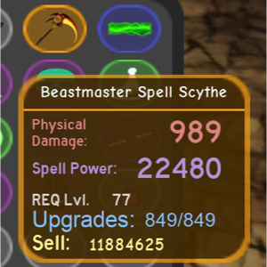 Other Other Dungeon Quest Beastmaster Spell Scythe All Max In Game Items Gameflip