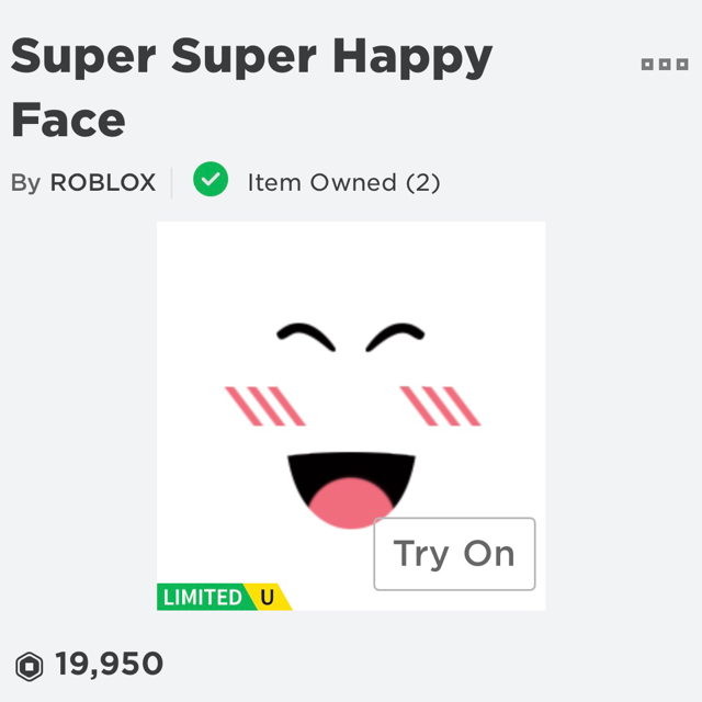 Clothing Roblox Super Super Happy Face Limited In Game Items
