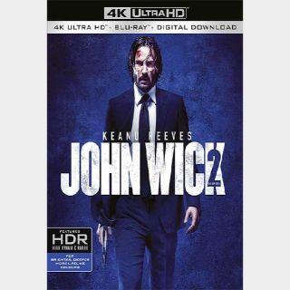 John Wick: Chapter 2   4K UHD   iTunes code   do not port MoviesAnywhere