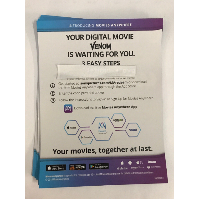 Venom Digital HD Movie Code - Digital Movies - Gameflip