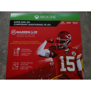 Madden NFL 20 Superstar Edition DLC Card XBOX ONE