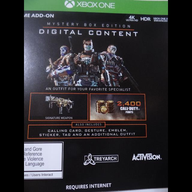 Call Of Duty Black Ops 4 Mystery Box Code Xbox One Xbox One