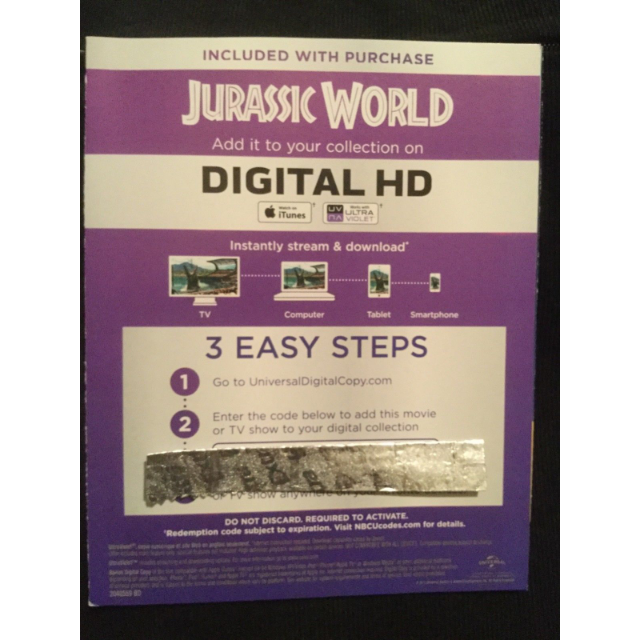 Jurassic World Digital HD Movie Code - Digital Movies