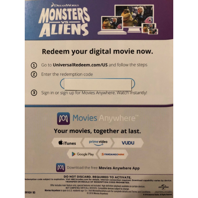 Monsters vs Aliens HD Digital Movie Code - Digital Movies