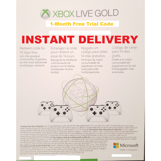 1 month free xbox live gold code